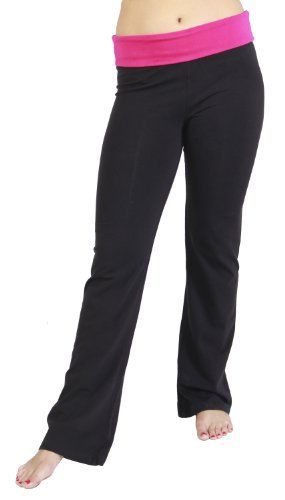 Alki'i Women's Cotton Lycra Fold over Yoga Pant