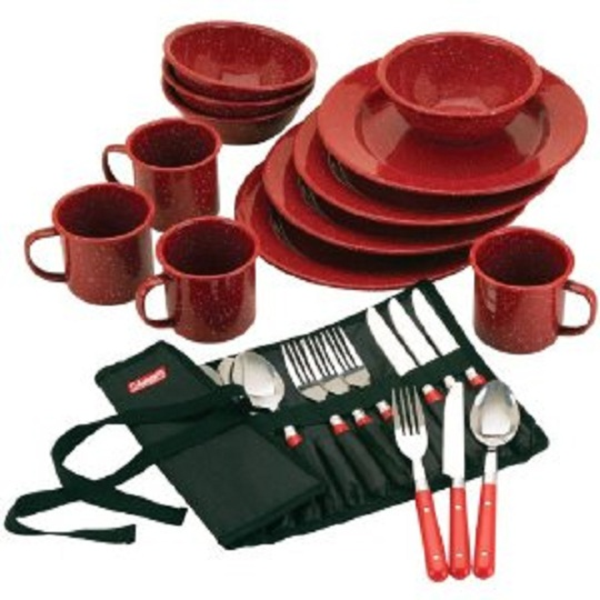 Coleman Speckled Enamelware Dining Kit - Reviews of Enjoy your Summer Camping Trips with these Top 20+ Camping and Hiking Supplies