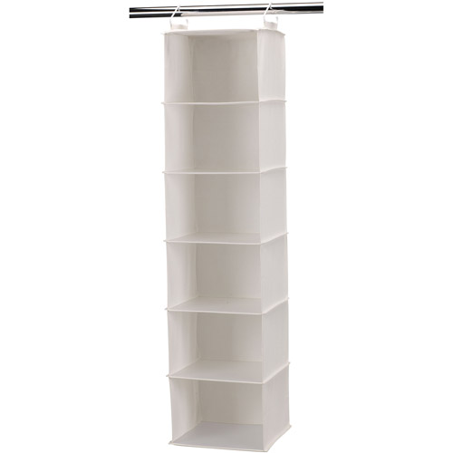 Household Essentials 6 Shelf Hanging Closet Organizer With Plastic Shelves,  Natural Canvas