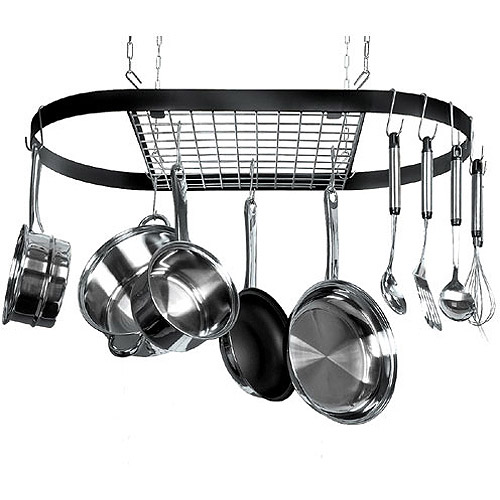 Review of kinetic classicor series wrought iron oval pot rack for Kitchen s hooks for pots and pans