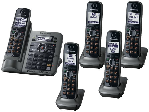 Review of Panasonic KX-TG7645M DECT 6.0 Link-to-Cell via Bluetooth Cordless Phone with Answering System, Metallic Gray, 5 Handsets