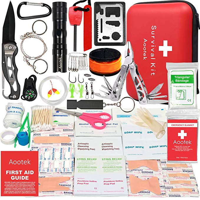 Review of Aootek Upgraded first aid survival Kit. Emergency Kit earthquake survival kit