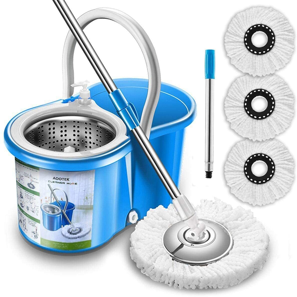 Review of Aootek Upgraded Stainless Steel Deluxe 360 Spin Mop
