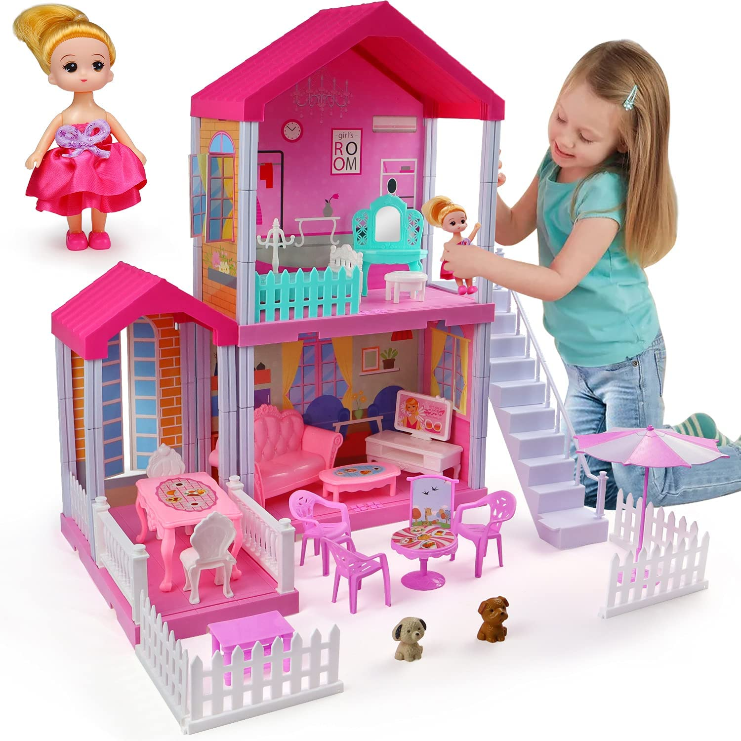 Review of aotipol Dollhouse Dreamhouse with Cloister, Stairs and Yard