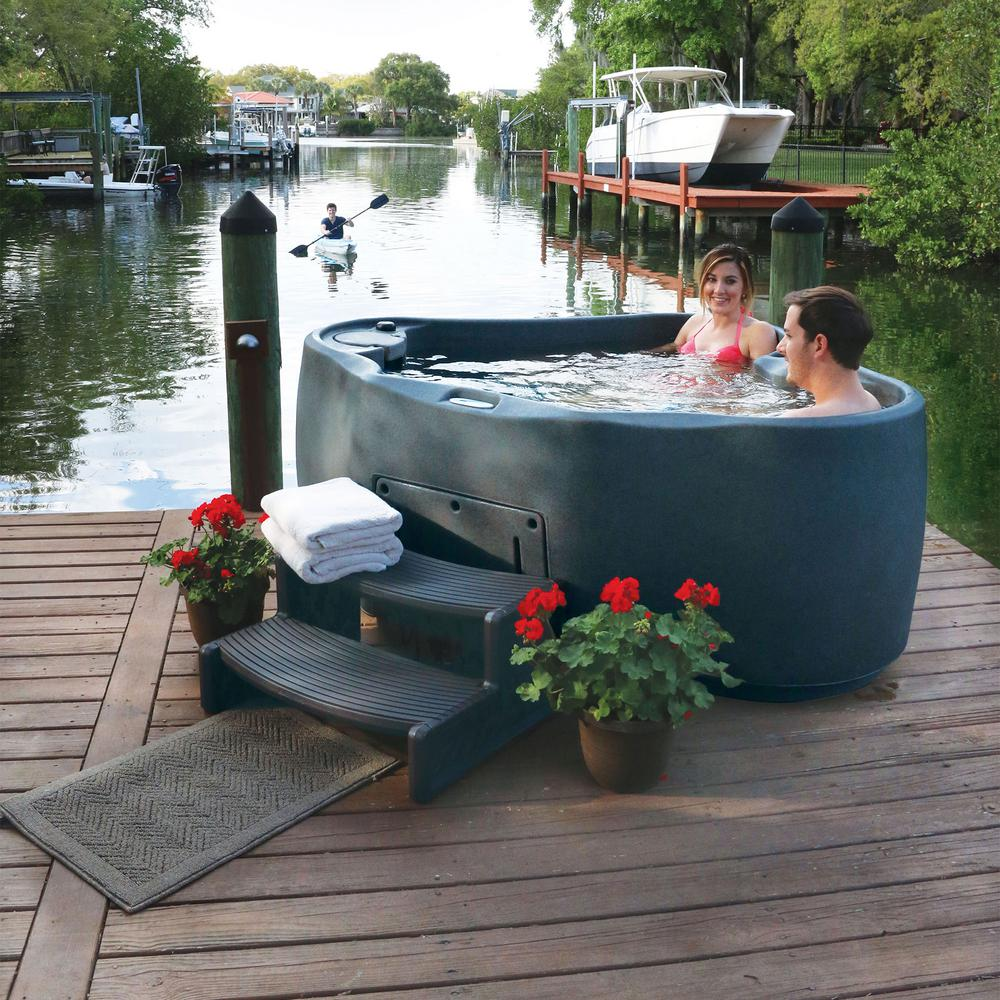Review of AquaRest Spas Premium 300 2-Person Plug and Play Hot Tub with 20 Stainless Jets, Heater, Ozone and LED Waterfall in Graystone