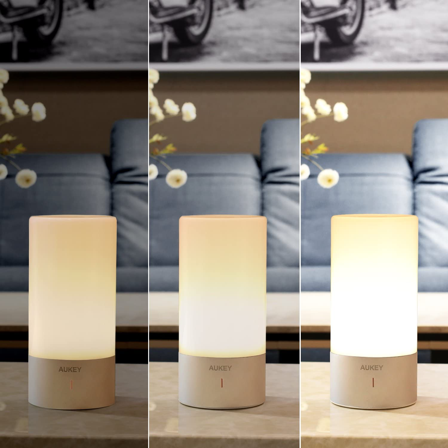 AUKEY Table Lamp, Touch Sensor Bedside Lamps + Dimmable Warm White Light