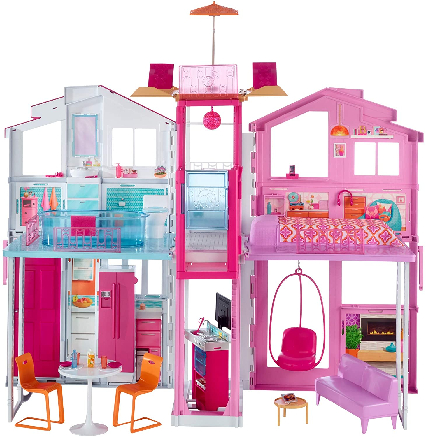 Review of Barbie 3-Story House with Pop-Up Umbrella