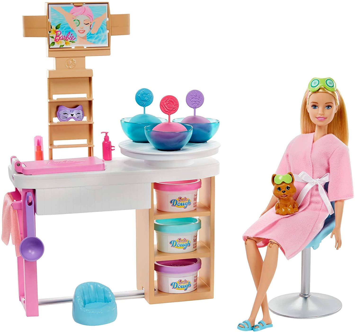 Review of Barbie Face Mask Spa Day Playset with Blonde Barbie Doll, Puppy, 3 Tubs