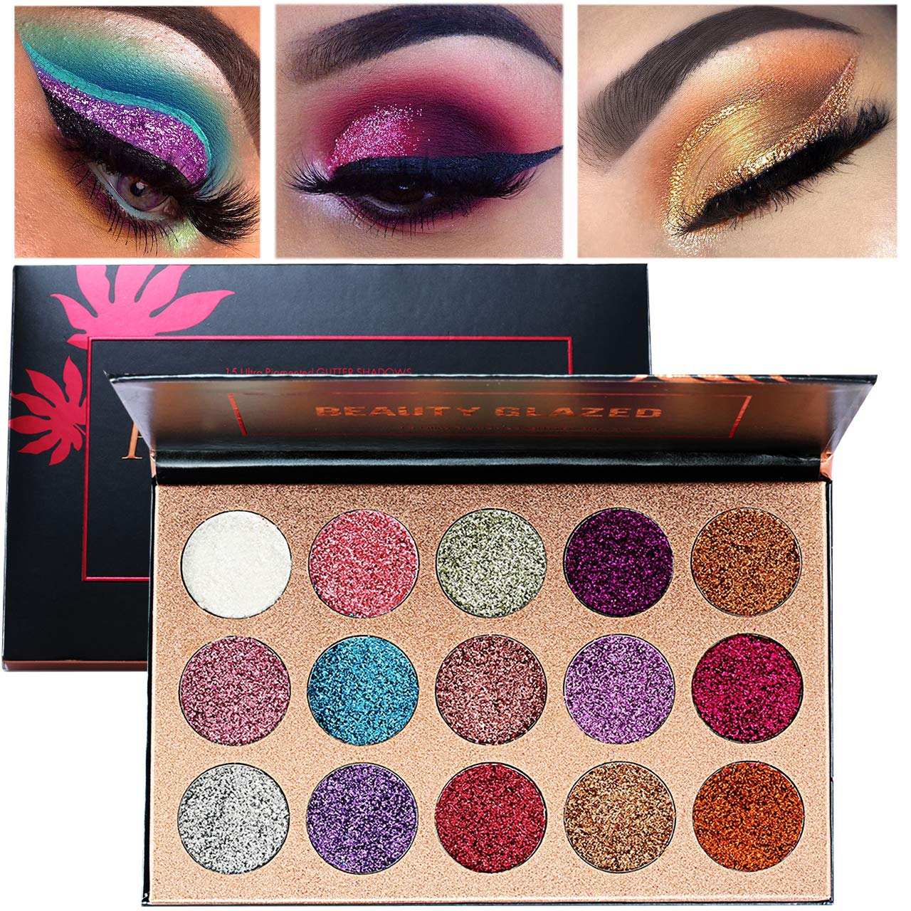 Review of Beauty Glazed Ultra Pigmented Glitters, Palette Creamy Glitter Pro Makeup