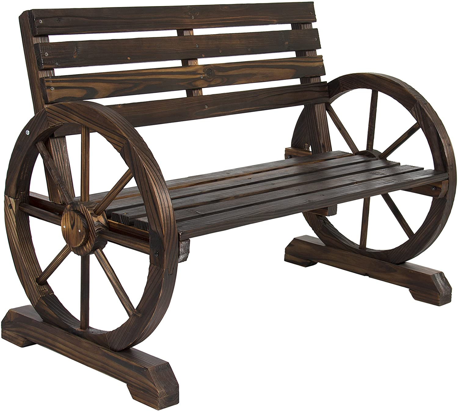 Review of Best Choice Products Wooden Rustic Wagon Wheel Bench for Patio, Garden, Outdoor