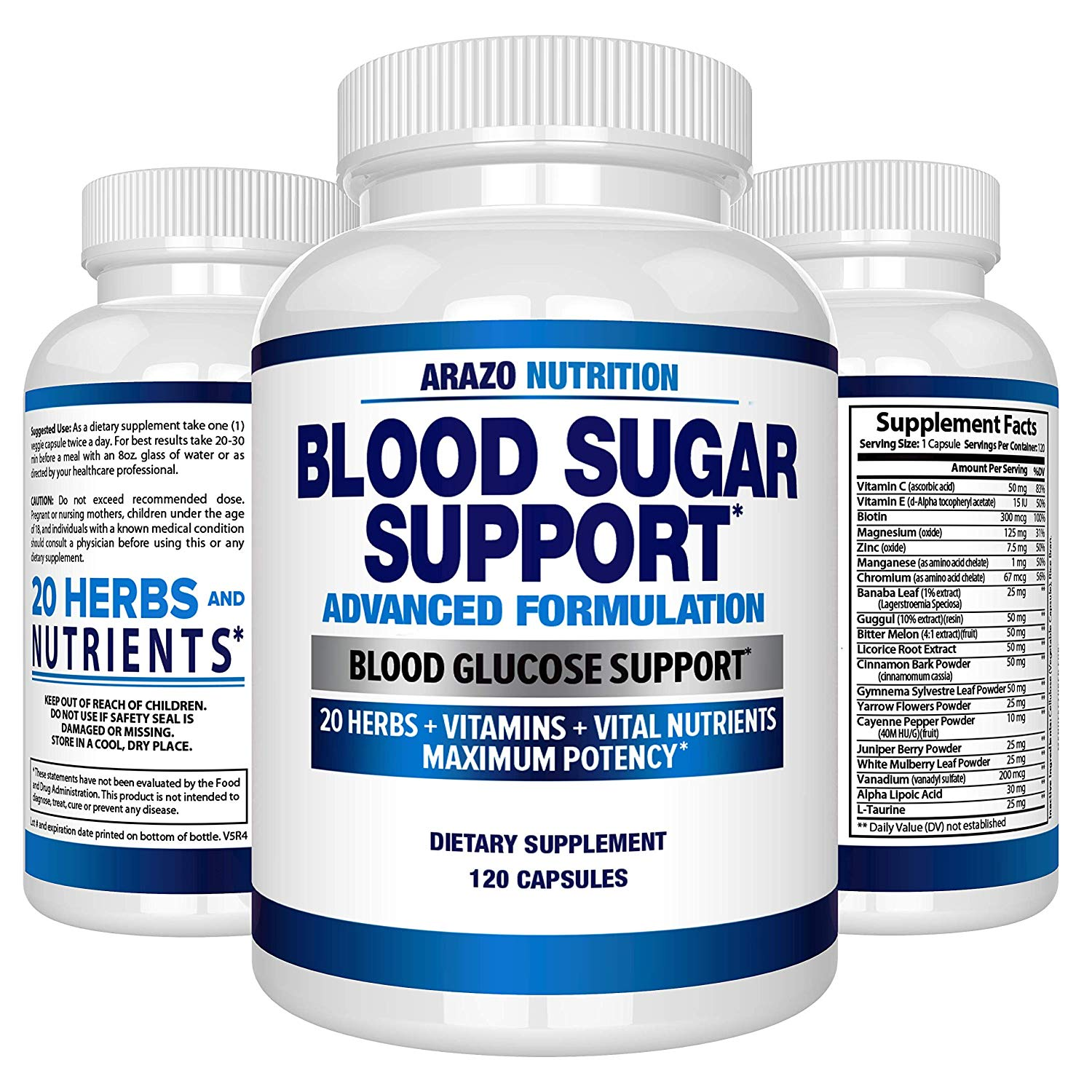 Blood Sugar Support Supplement - 20 HERBS & Multivitamin for Blood Sugar Control by Arazo Nutrition