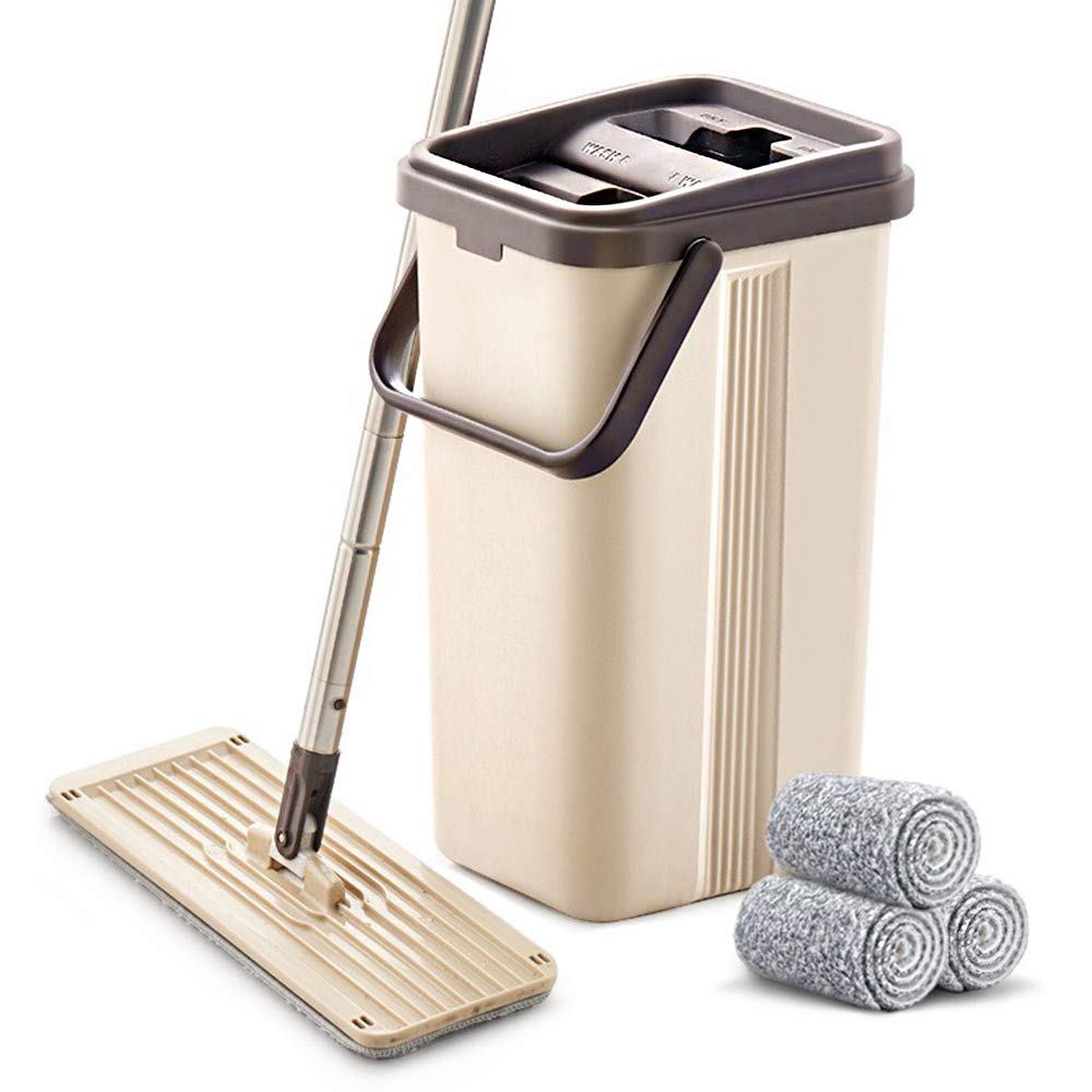 Review of - BOOMJOY Microfiber Flat Mop with Bucket, Cleaning Squeeze Hand Free Floor Mop
