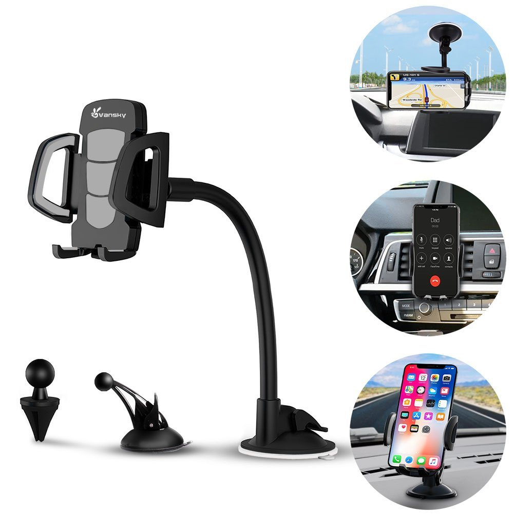 Review of Car Phone Mount, Vansky 3-in-1 Universal Phone Holder Cell Phone Car Air Vent Holder Dashboard Mount Windshield Mount