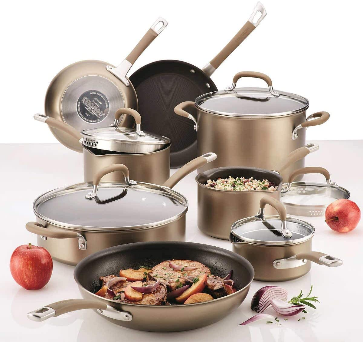 Circulon Premier Professional 13-Piece Hard-Anodized Cookware Set (8 Cooking Vessels and 5 Lids)