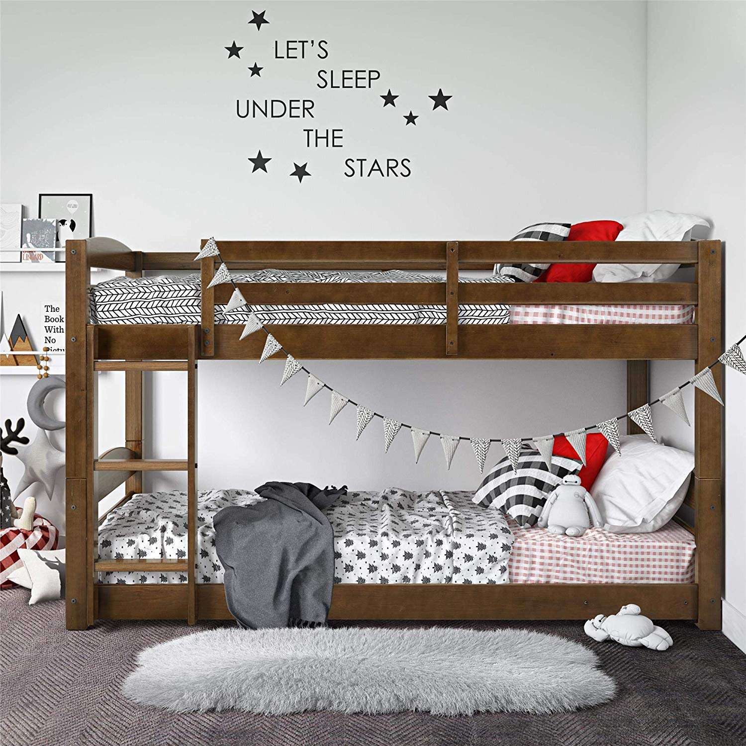 Review of Dorel Living Phoenix Solid Wood Twin over Twin Floor Bunk Beds with Ladder and Guard Rail