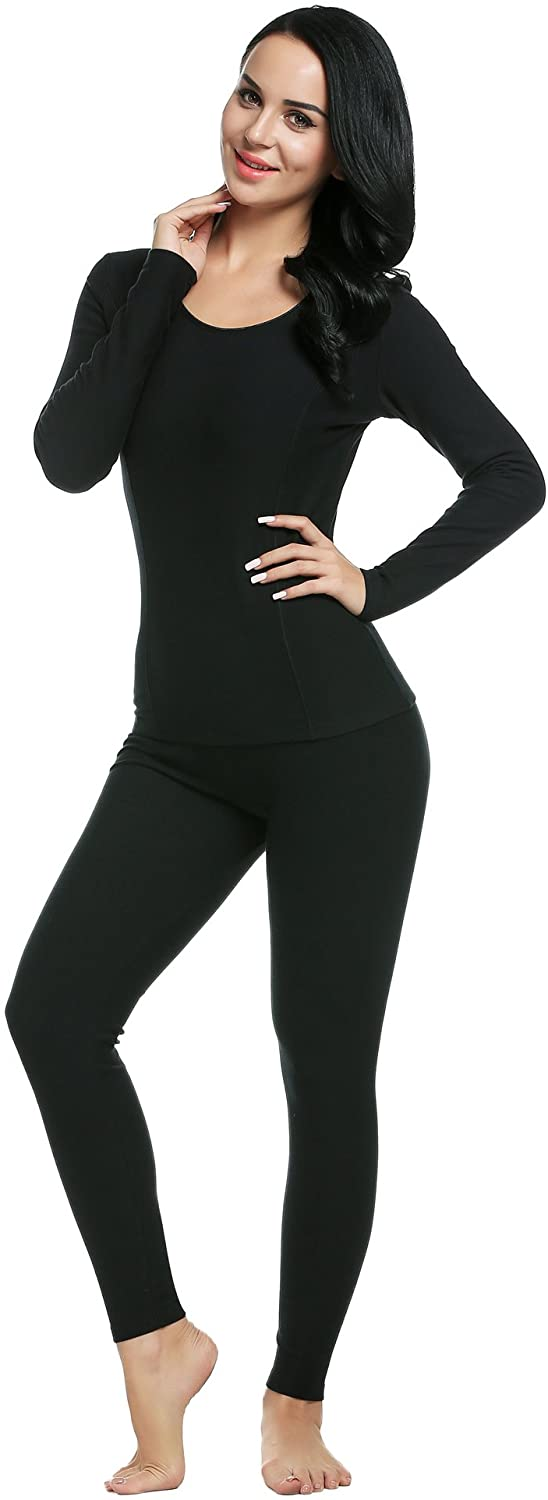 Ekouaer Women's Long Thermal Underwear Fleece Lined Winter Base Layering Set