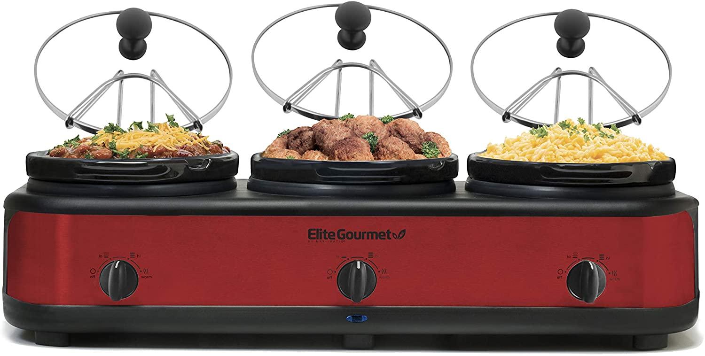 Review of Elite Platinum EWMST Triple Slow Cooker Buffet Server, EWMST-325R, Red