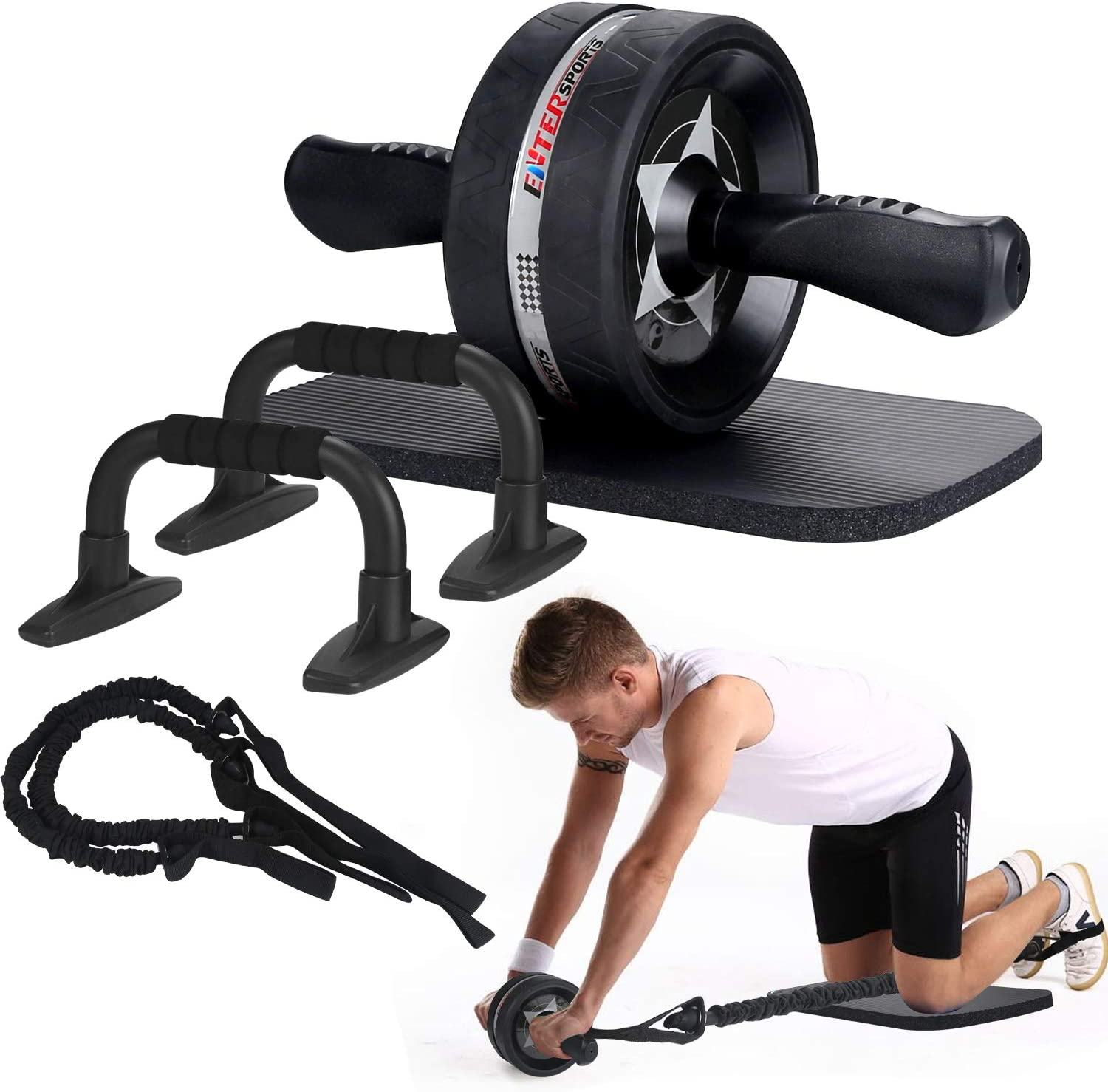 Review of EnterSports Ab Roller Wheel, 6-in-1 Ab Roller Kit with Knee Pad