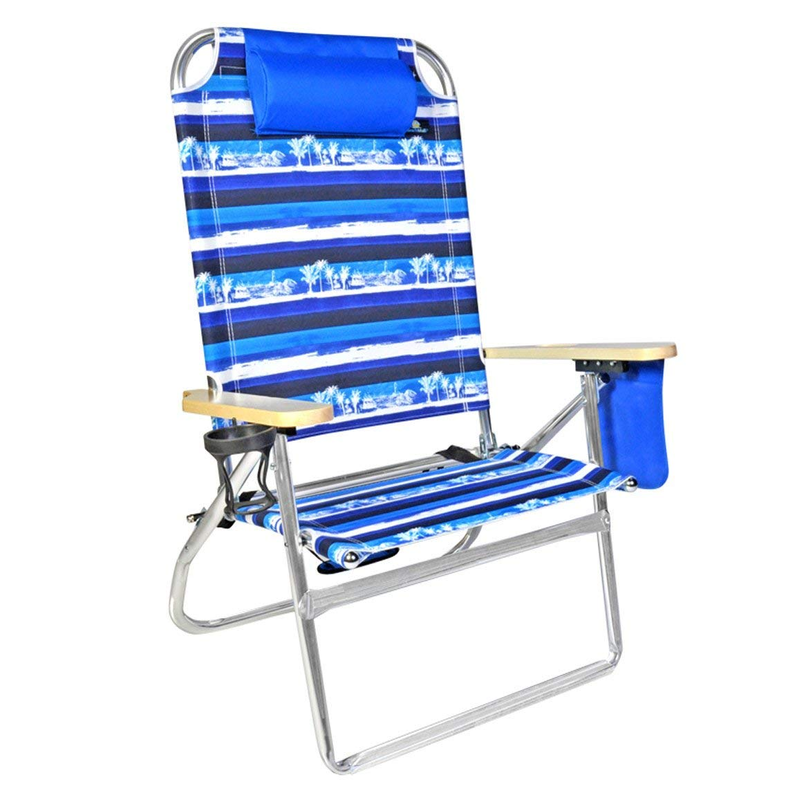 Review of Extra Large - High Seat Heavy Duty 4 Position Beach Chair w/Drink Holder
