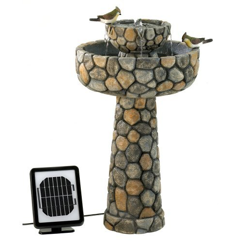 Faux Stone Wishing Well Garden Solar Water Fountain