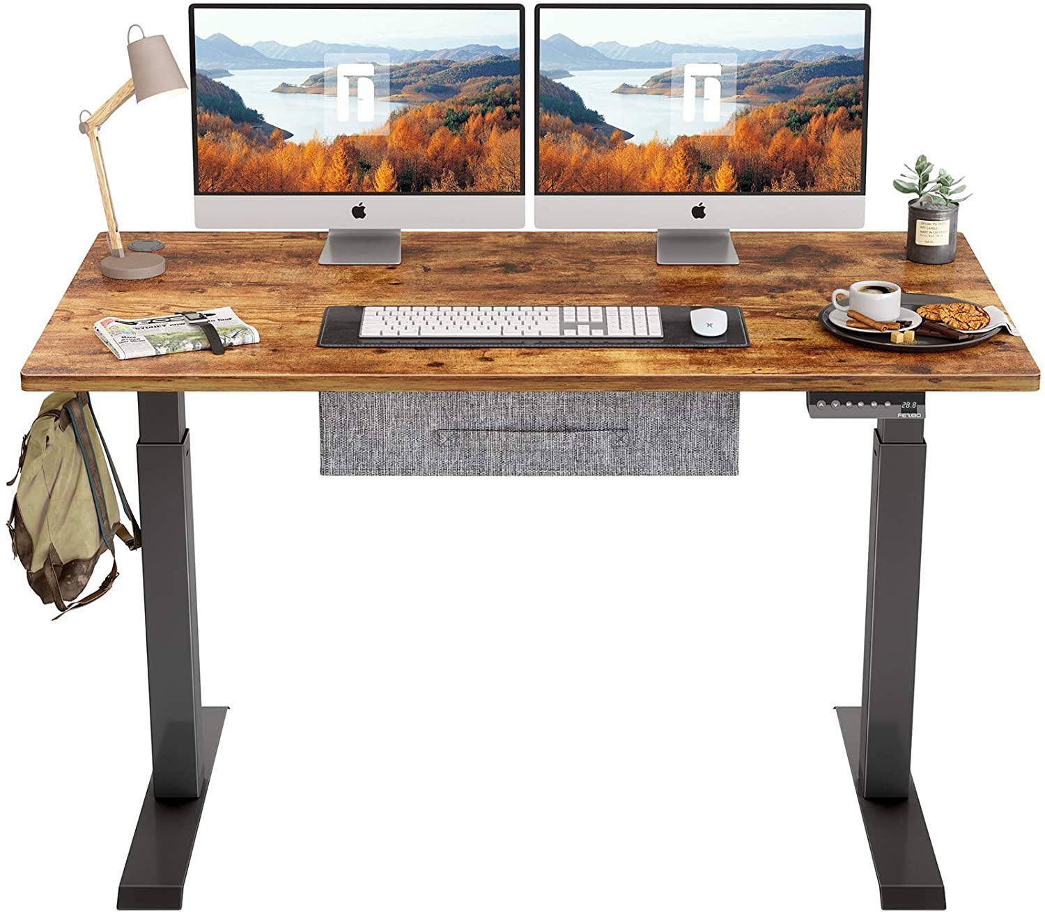 Review of FEZIBO Electric Height Adjustable Standing Desk with Drawer, 48 x 24 Inches Splice Board