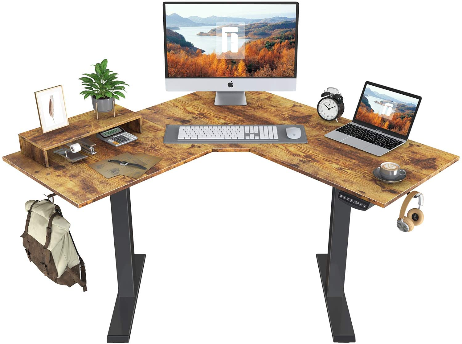 Review of FEZIBO L-Shaped Electric Sit Stand Desk, 48 Inches Height Adjustable Corner Desk