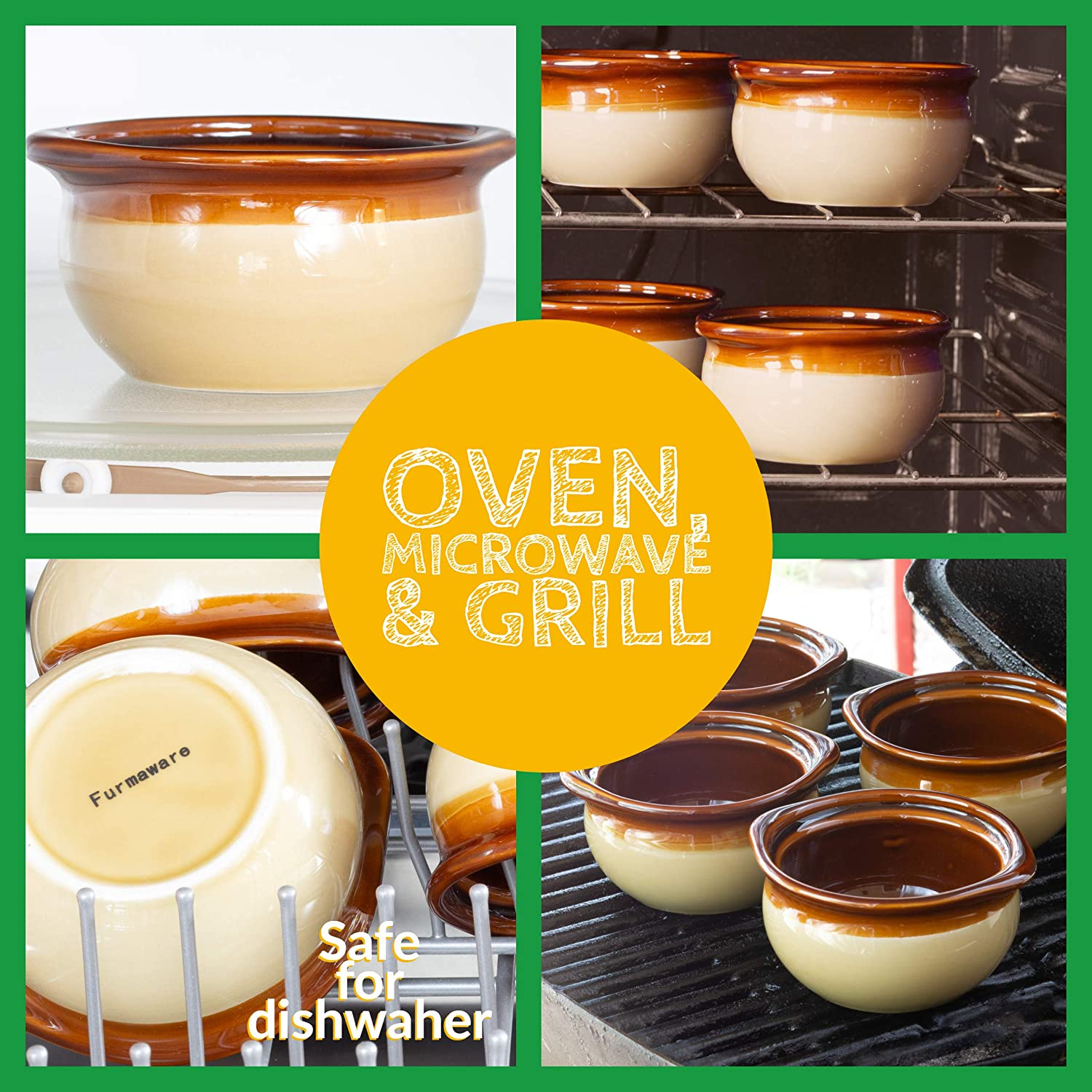 Review of French Onion Crock Soup Bowls Set of 4 - 12 ounces by Furmaware