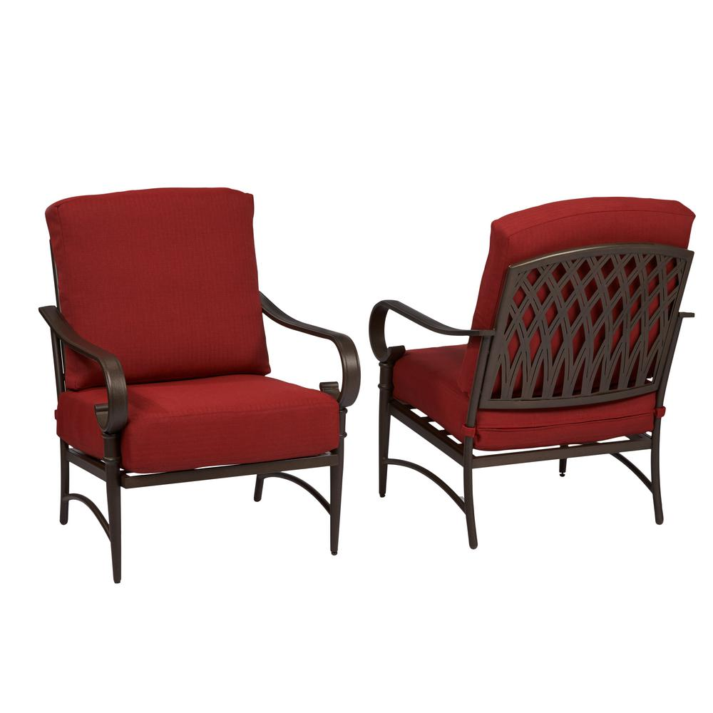 Review of Hampton Bay Oak Cliff Stationary Metal Outdoor Lounge Chair with Chili Cushion (2-Pack)