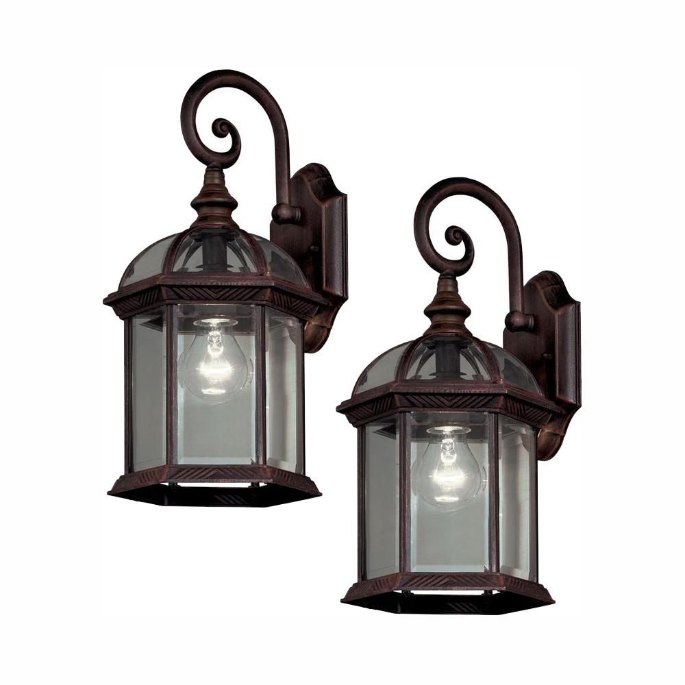 Review of Hampton Bay Twin Pack 1-Light Weathered Bronze Outdoor Wall Lantern Sconce
