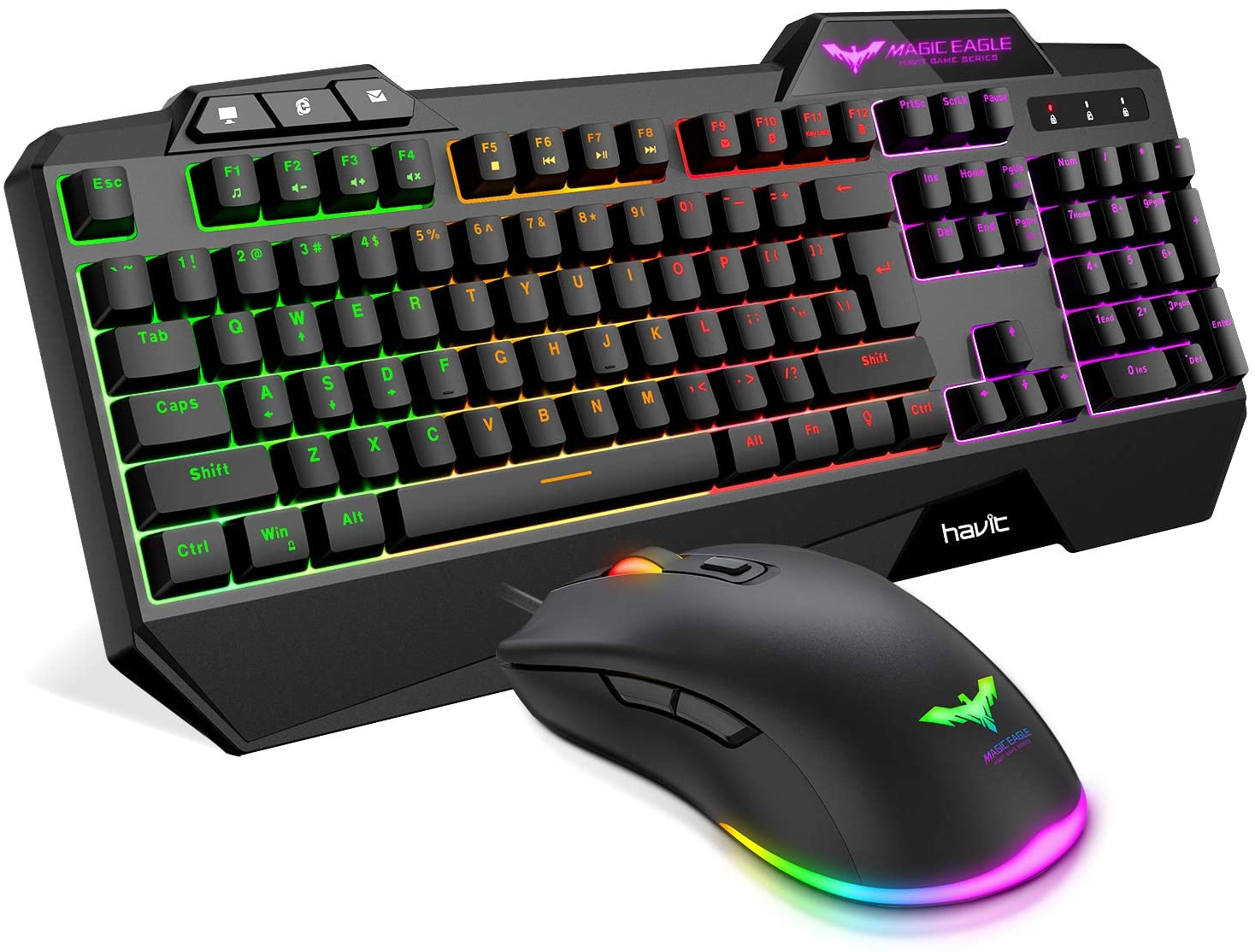 Review of Havit Keyboard Rainbow Backlit Wired Gaming Keyboard Mouse Combo, LED 104 Keys