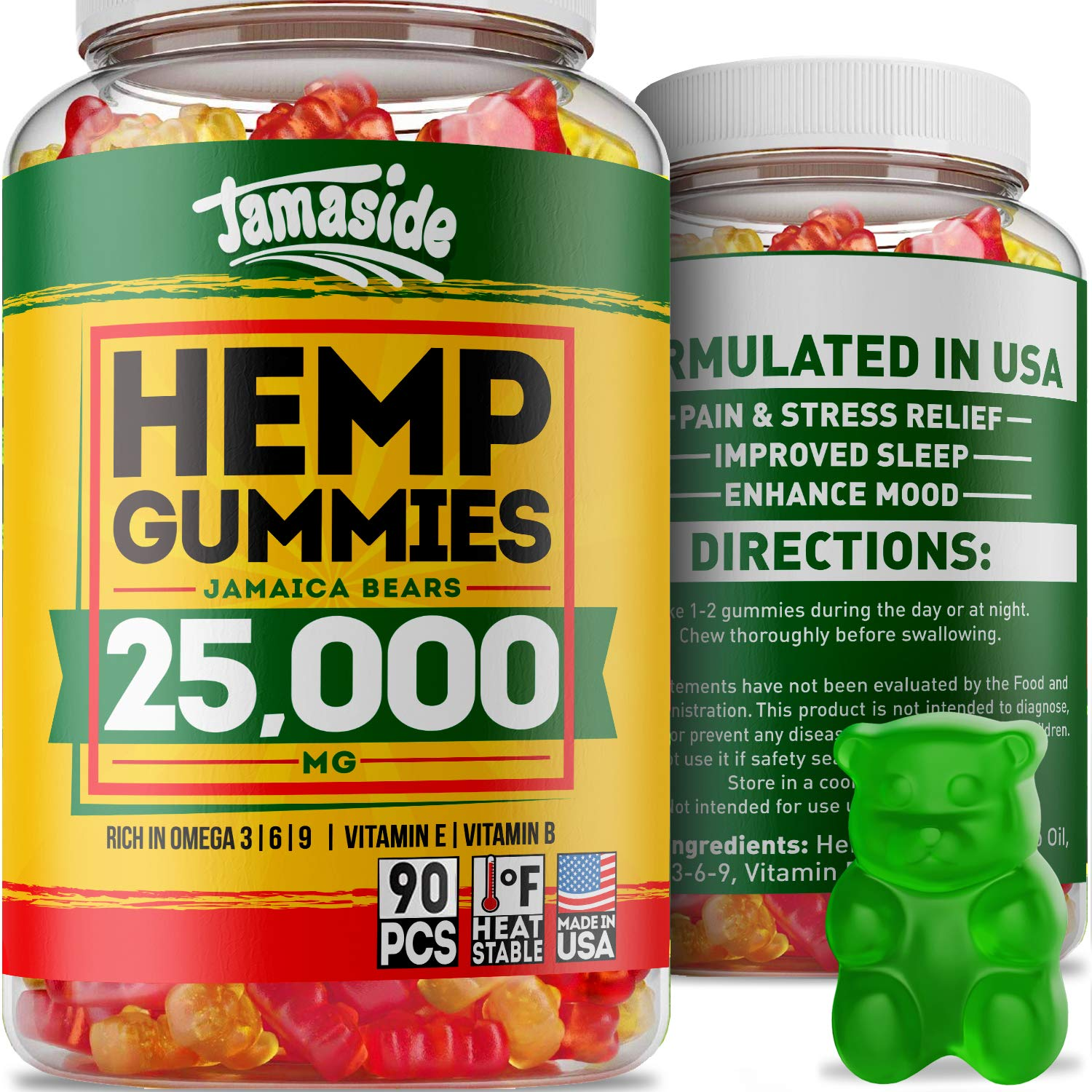 Hemp Gummies 25000 MG - Made in USA - 277 MG Hemp - Anxiety & Stress Relief, by Jamaside