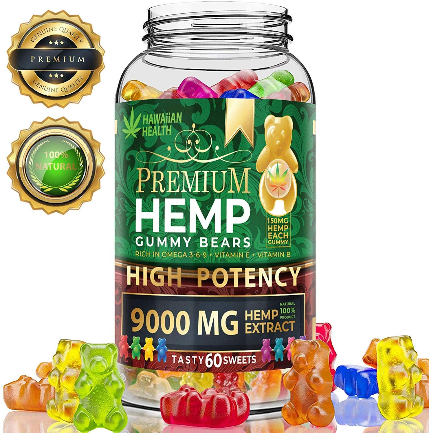 Review of Hemp Gummies Premium 9000MG High Potency 150 Per Fruity Gummy Bear with Hemp Oil by Hawaiian health