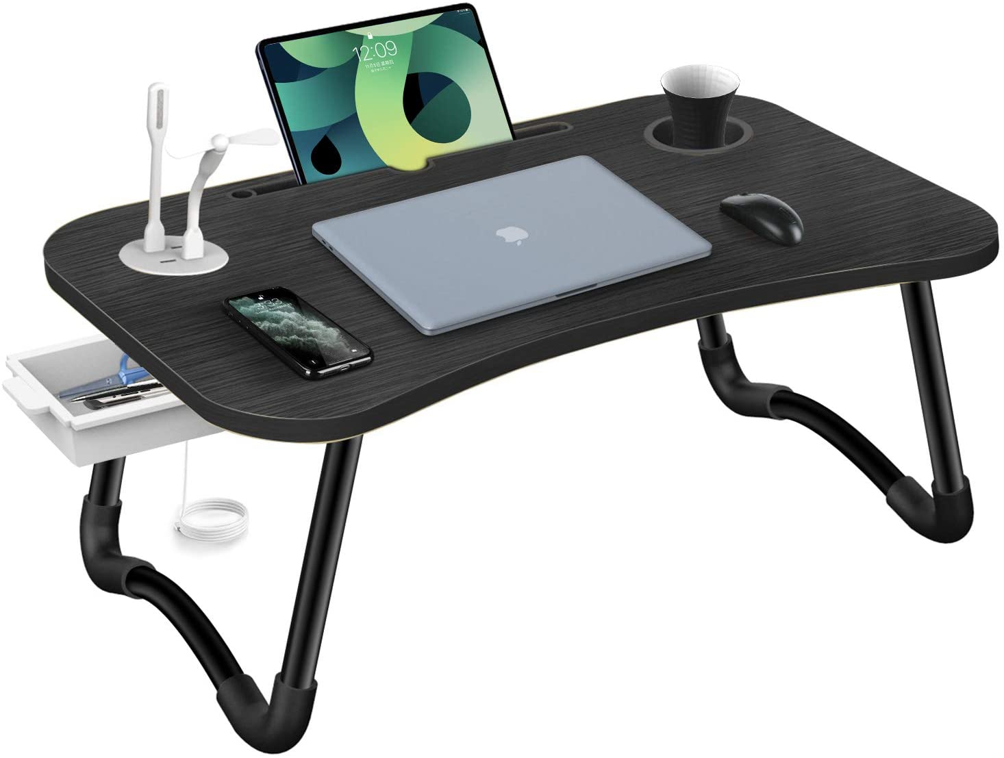 Review of HLHome Laptop Bed Desk,Portable Foldable Laptop Bed Tray Table with USB Charger