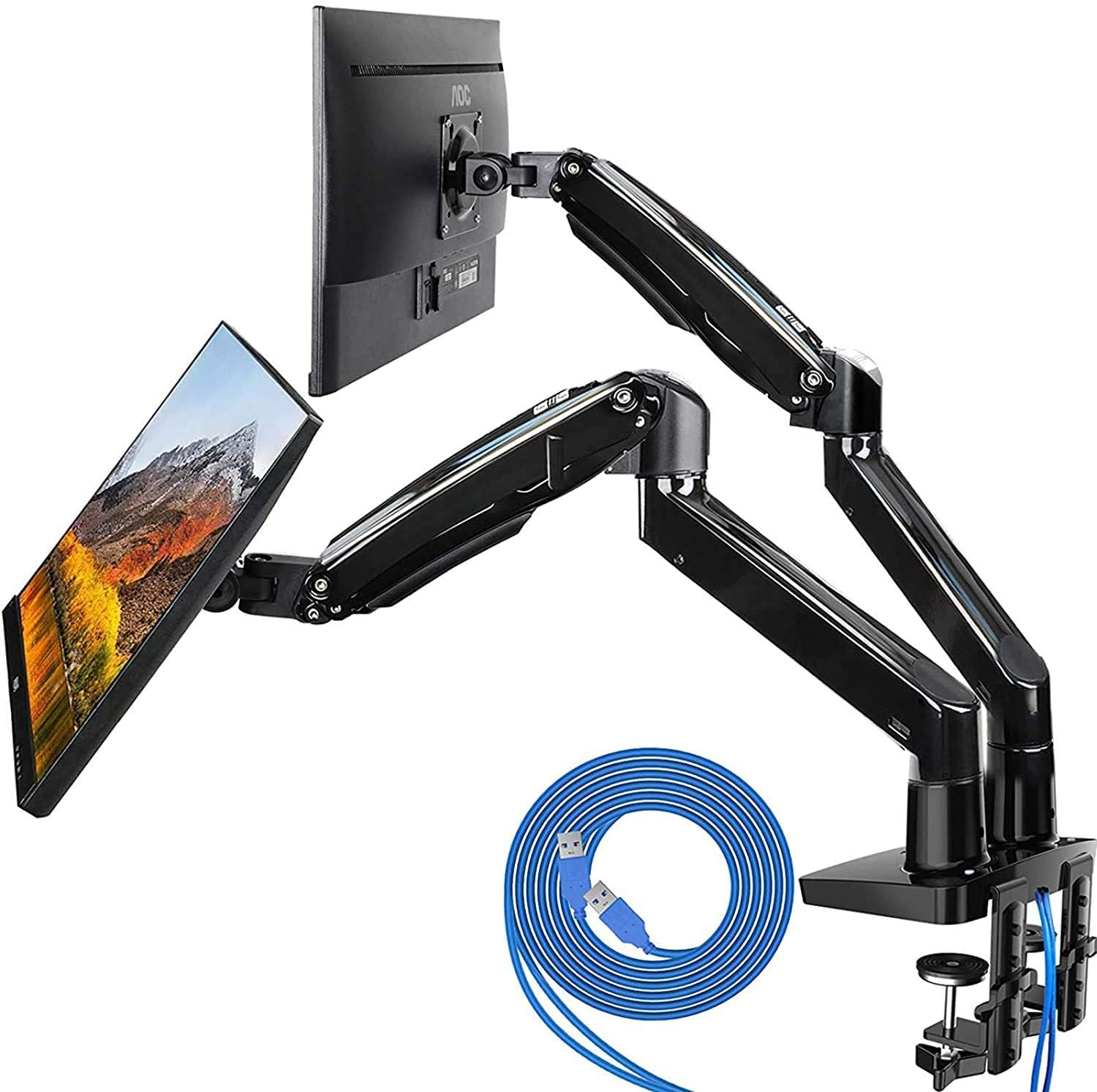 Review of HUANUO Dual Monitor Mount Stand - Long Double Arm Gas Spring Monitor Desk Mount for 2 Screens