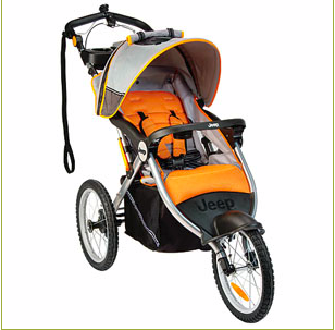 Jeep Overland Limited Jogging Stroller with Front Fixed Wheel, Fierce Orange