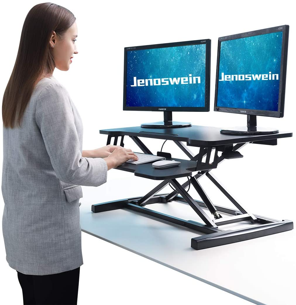 JENOSWEIN Height Adjustable Standing Desk for Dual Monitor 32