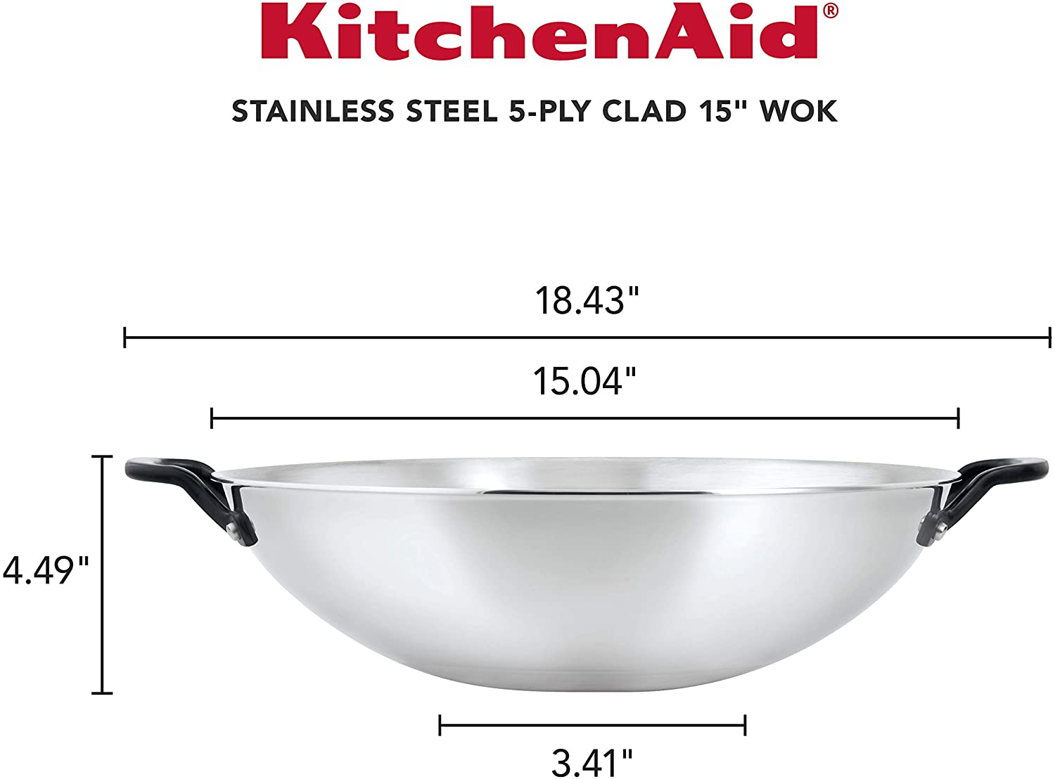 Review of KitchenAid 5-Ply Clad Polished Stainless Steel Stir Fry/Wok, 15 Inch
