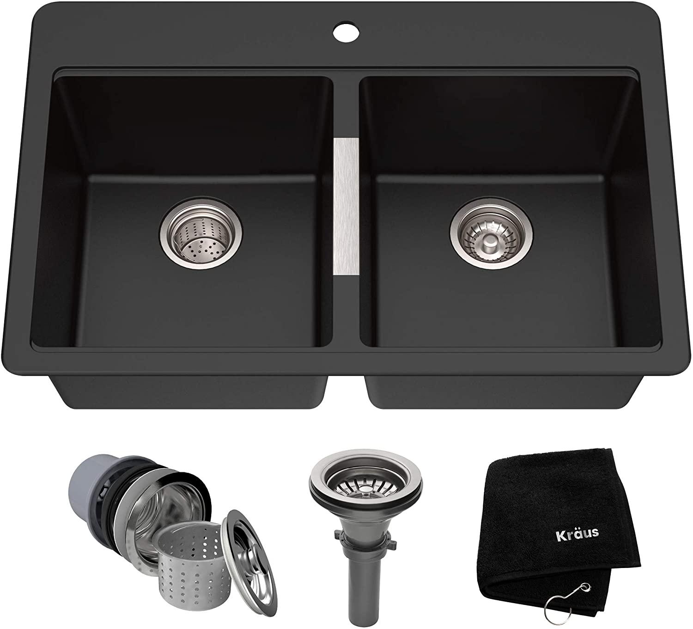 Review of Kraus Quarza Kitchen Sink, 33-Inch Equal Bowls, Black Onyx Granite, KGD-433B model