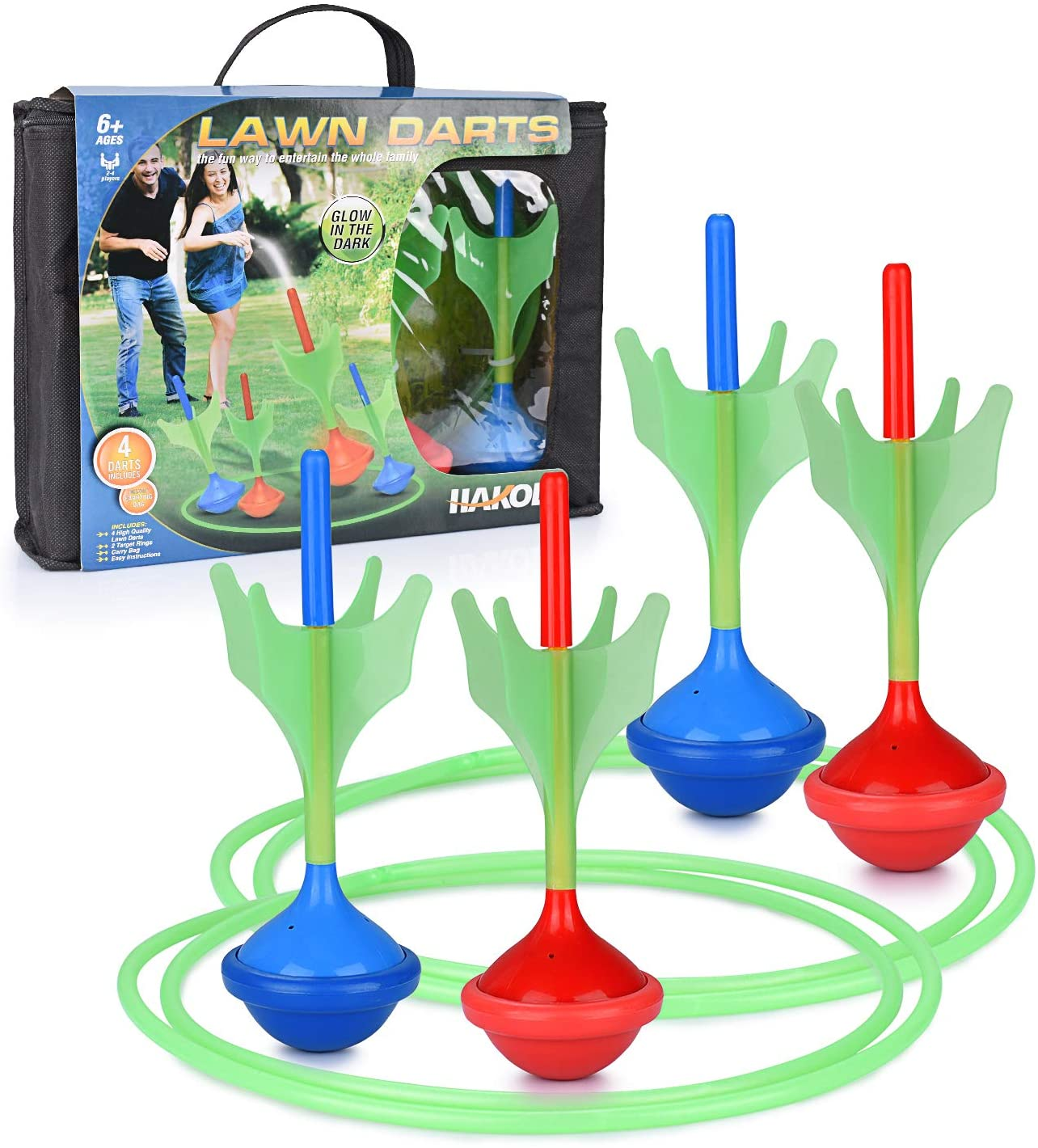 Lawn Darts Game - Glow in The Dark, Outdoor Backyard Toy for Kids & Adults