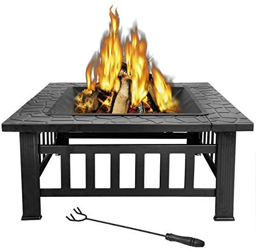Review of LEMY 32 inch Outdoor Square Metal Firepit Backyard Patio Garden Stove