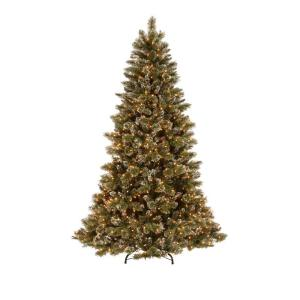 Martha Living 7 5 Ft Pre Lit Sparkling Pine Artificial Christmas Tree With Clear