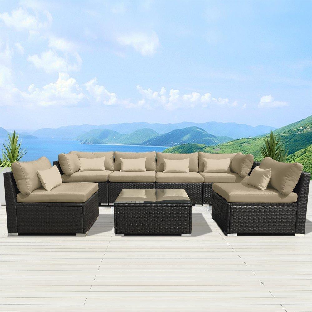 review of modenzi 7g u outdoor sectional patio furniture espresso rh boolpool com patio furniture sofa and chairs patio furniture sofa cushions