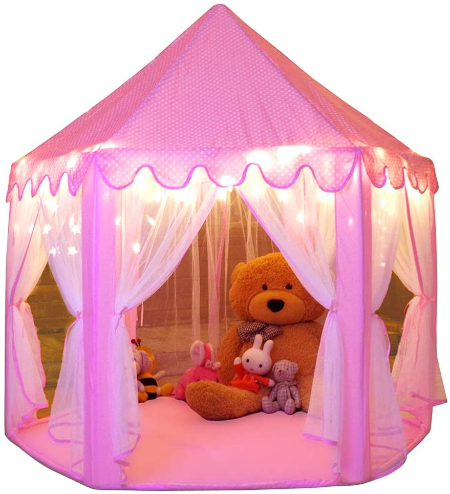 Review of Monobeach Princess Tent Girls Large Playhouse Kids Castle Play Tent with Star Lights Toy, 55'' x 53'' (DxH)
