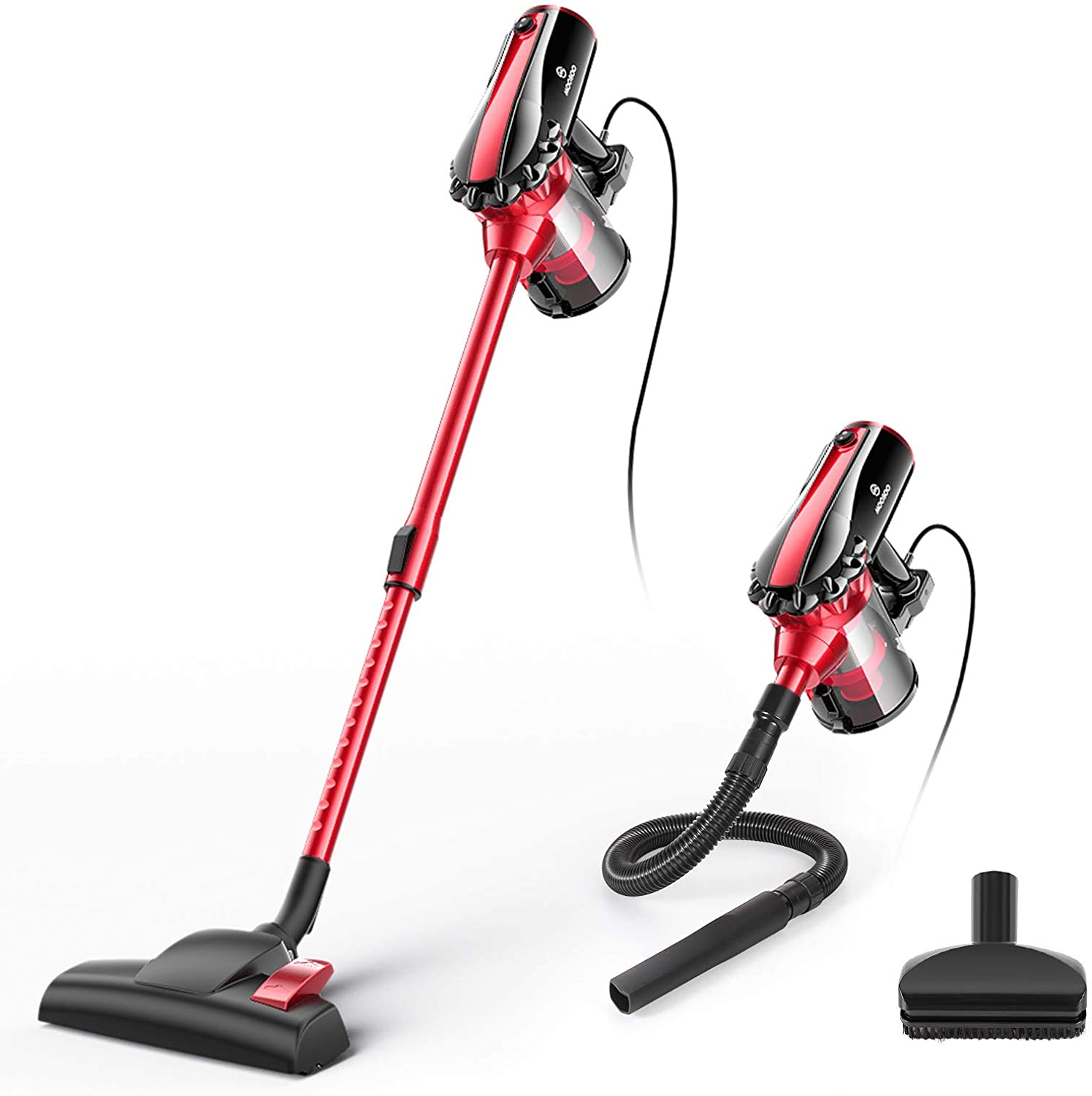 Review of MOOSOO Corded Stick Vacuum for Hard Floor with HEPA Filters,Hose, D600