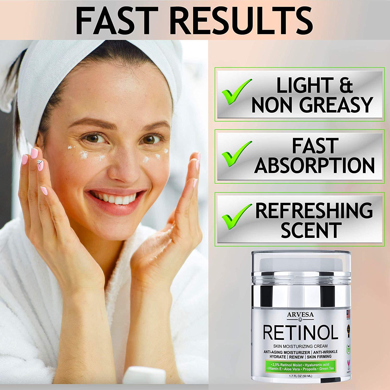 Review of Natural Retinol Moisturizer Cream for Face and Eye Area - Made in USA - with Hyaluronic Acid - Active Retinol 2.5% - Anti Aging Face Cream
