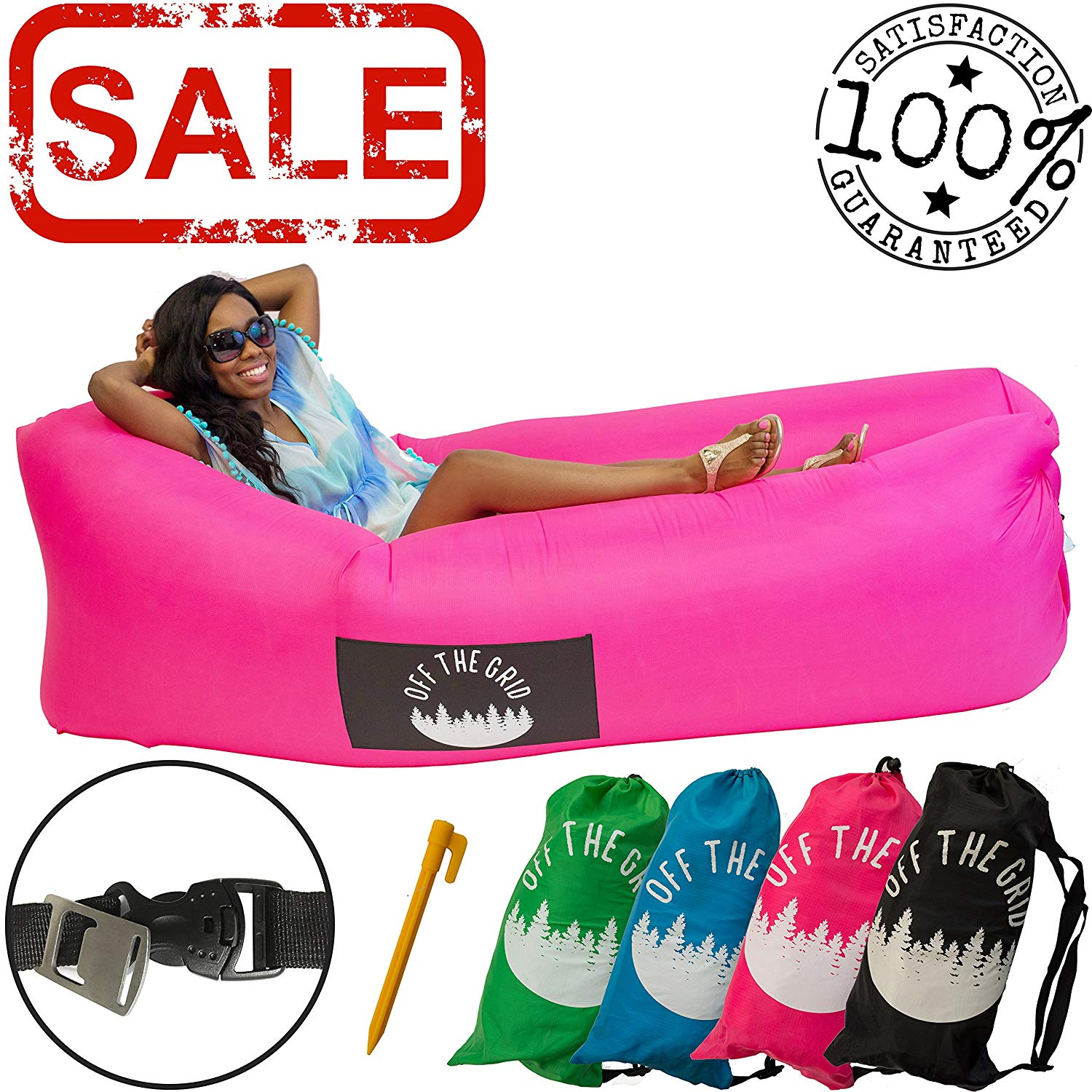 Review of Off the Grid Inflatable Lounger - Air Sofa Wind Chair Hammock - Floating/Portable Bed