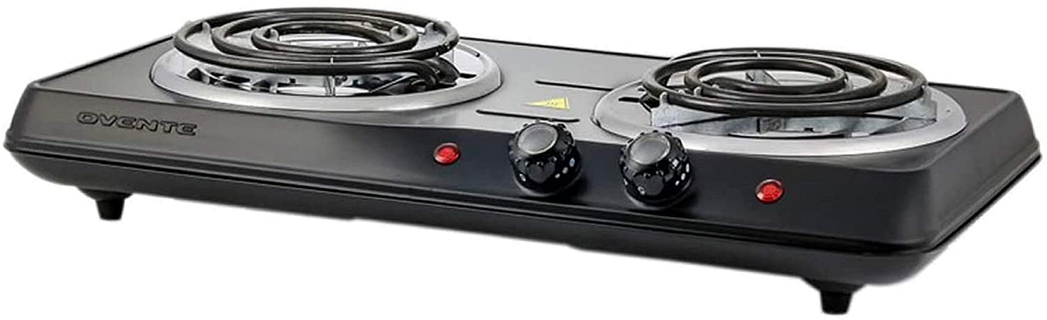 Review of Ovente 1700W Double Hot Plate Electric Countertop Coil Stove  BGC102B