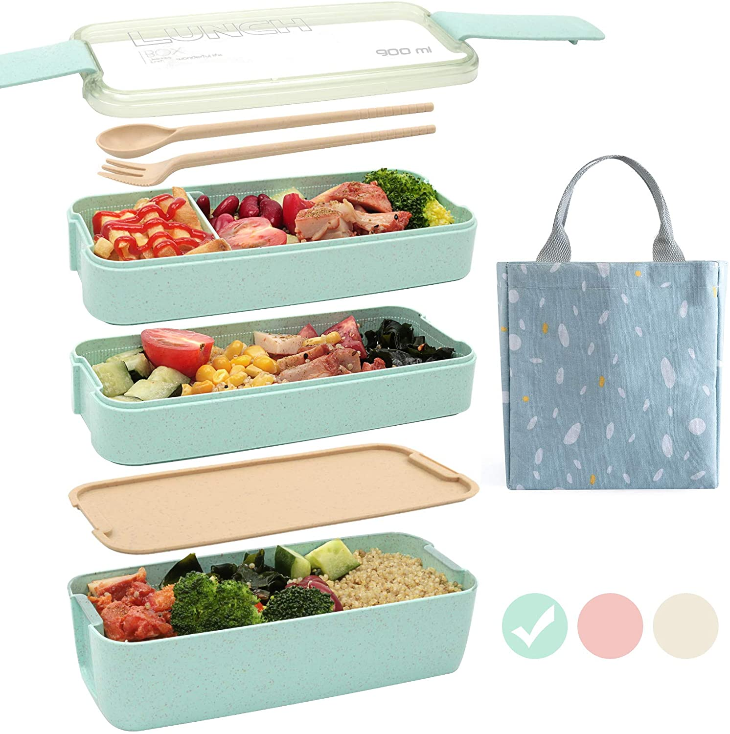 Review of Ozazuco Bento Box Japanese Lunch Box,3-In-1 Compartment