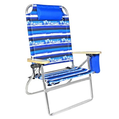 Extra Large - High Seat Heavy Duty 4 Position Beach Chair w/Drink Holder
