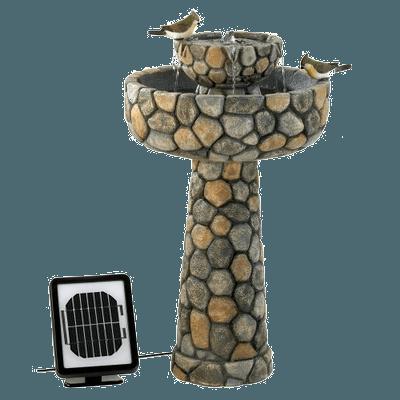 Faux Stone Wishing Well Garden Solar Water Fountain